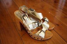 Nine West: Womens Gold Buckle Heels, Size 6