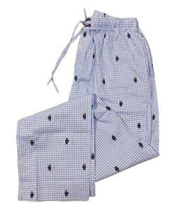 Polo Ralph Lauren Men's Blue/White Gingham Check Polo Bear Graphic Sleep Pants