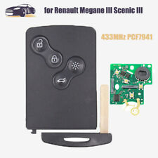 REMOTE SMAER CARD KEY FOB 4 BTN 433MHZ PCF7941 FOR RENAULT MEGANE SCENIC 2009-14