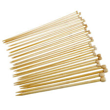 18 Sizes 36cm Bamboo Knitting Needles Single Pointed Crafty DIY2.0-10.0mm J7Q3