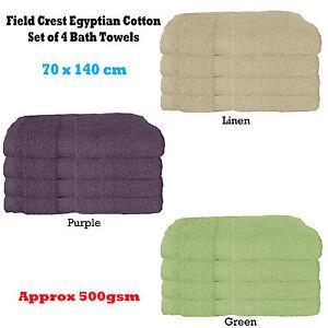 Set of 4 - 500gsm Absorbent Egyptian Cotton Bath Towels 70 x 140cm