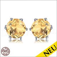 NEU 🌸 OHRRINGE Citrin 925 Sterling Silber RUND Ohrstecker Rhodiniert 🌸 Luxus