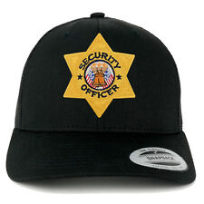 Security Officer Gold Star Badge Embroidered Iron On Patch Mesh Back Trucker Cap