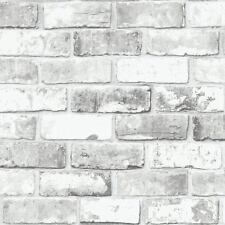 White Brick Wall with Grey Shimmer Tones Effect Faux Feature Wallpaper 6751