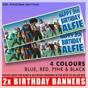 """FORTNITE NEW SEASON 7 BIRTHDAY BANNER PERSONALISED x2 36 """"x 11"""" ANY NAME ANY AGE"""