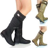 NEW WOMENS LADIES WINTER LOW HEEL MID CALF FULL LINED LONG BOOTS SIZE 4 5 6 7 8