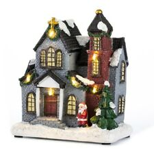 Resin Christmas Village House With Warm LED Light Holiday Gifts Xmas Decoration