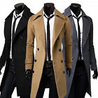 Formal Trench Coat Double Breasted Slim Peacoat Coat Mens Long Jacket Outwear