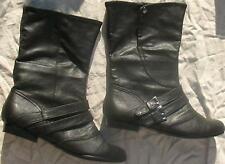"White Mountain Boots Black Faux Leather Buckles Snaps Women's Size 6 M 1/2"" Heel"