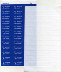 1989 QEII Air Mail Labels MISSING BLUE - Blank Gummed and Rouletted Sheet Rare!