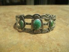 Sterling Turquoise Applied Thunderbird Bracelet Real Old Fred Harvey Era Navajo
