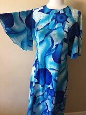 Turquoise Blue White Floral Tropical Print Custom Made Gown Dress Bell Sleeves L