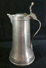 """Antique Italian Bartalomeo Walder Pewter Flagon Stein 1.5 Pint & 8.75"""" Tall EXC"""