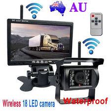 """Wireless 12V 24V 7"""" LCD Monitor Reversing Kit + Bus Truck 18LED IR Backup Camera"""