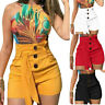 Women High Waisted Buttons Shorts Summer Casual Stretch Hot Pants Plus Size US