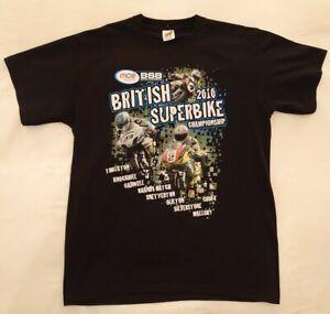 British Super Bike 2010  Size L Black Graphic Tee T Shirt Motorbike Motorcycle