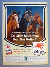 Original 1944 Mobil Ad TEN SHUN! GET UP TO 10% MORE MILES FROM YOU GAS RATION