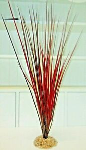 "Red Grass Aquarium Plant Tall 16"" Plants Rock Heavy Base Ornaments Fish #73100"