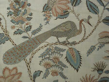 """SCHUMACHER CURTAIN FABRIC """"Campagne"""" 2.6 METRES PEACOCK & ROUGE COUNTRY CHIC COL"""