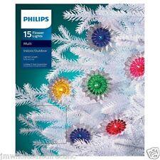 New ! 15ct Philips Vintage Foil Flower Lights Indoor Outdoor 14 FT L Multi Color