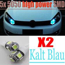5SMDs 5050 LED Auto Standlicht Lampe Birne W5W T10 Sockel Kalt Blau Cool Blue x2