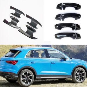 Carbon fiber Car Side Exterior Door Handles Bowl Cup Cover For Audi Q3 2019-2021