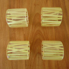 Vintage Lucite and Straw Bamboo Napkin Rings Clear Acrylic Mid Century Set of 4