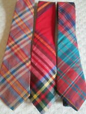 Lot 3 Vintage Rooster Ties Madras Plaid Cotton India Usa