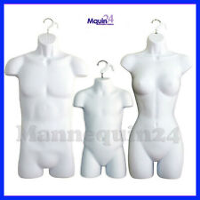 New Listing3 Pack Torso Body Hanging Mannequin Forms White Male Female & Child Set