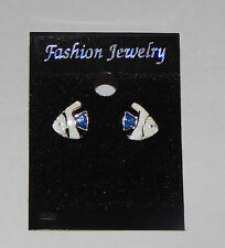 Beautiful Enamelled Angel Fish Earrings Stud Fixing Blue Tail