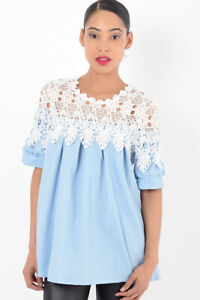 Womens Blouse Ladies Short Sleeve White Lace Top Round neckline Loose Fit Tunic