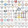 Various Styles PAIR CZ Nipple Rings 316L Surgical Steel Shield Bar Barbells 14G