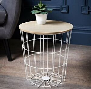 New Fabulous Tromso Basket Side Table White Unique Furniture Piece
