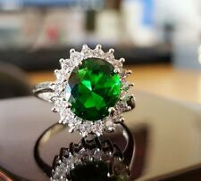White gold finish oval Cut green Emerald created diamond ring size P free post