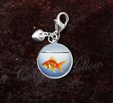 925 Sterling Silver Charm Orange Goldfish in Fish Bowl