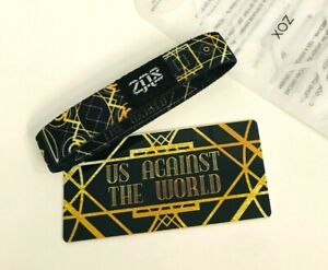ZOX **US AGAINST THE WORLD** Silver Single med Wristband w/Card  NIP