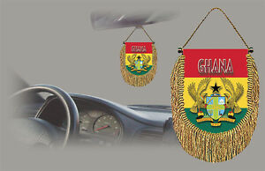 GHANA REAR VIEW MIRROR WORLD FLAG CAR BANNER PENNANT