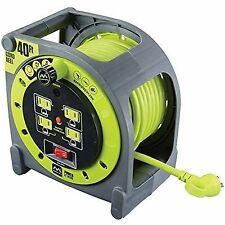 40ft Electric Extension Cord Cable Case Reel Retractable Storage 4 Power Outlets