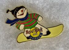 HARD ROCK CAFE DENVER SNOWMAN RIDING ON YELLOW SNOW BOARD PIN # 2283