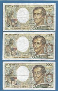 Lot 3 billets 200 francs MONTESQUIEU 1987 - 1988 - 1989