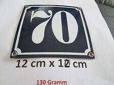 Hausnummer Nr. 70 weisse Zahl auf blauem Hintergrund 12 cm x 12 cm Emaille Neu