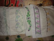 VINTAGE NEEDLEPOINT EMBROIDERED FLORAL PURPLE BLUE (5) STANDARD PILLOWCASES