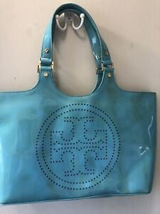 Tory Burch Turquoise Canvas Patent Leather Trimmed Large Tote Bag