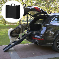 Hunderampe Hundetreppe Autorampe Haustier 152x43cm Klappbar Schwarz Kunststoff