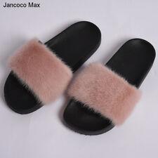 Women Mink Fur Furry Slides Comfy Flip Flop Fashion Luxury Fur Slippers 16027A
