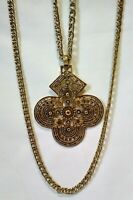 Vtg KENNETH LANE Gold Tone Metal Large Statement Pendant Multiple~Chain Necklace
