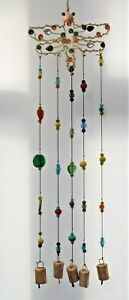 Wind Chime *  Jeweled Dragonfly With Hanging Bells & Multi Colour Glass Beads