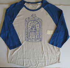 NEW LUCKY BRAND Tijuana Tequila Club Blue Oatmeal Raglan Baseball T Shirt XXL