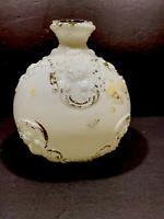 Antique Victorian Satin White Milk Glass Embossed Hand Painted Round Vase