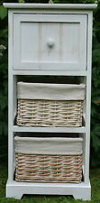 3 DRAWER WOOD & WICKER STORAGE UNIT - FOR BEDROOM / BATHROOM / AROUND THE HOME